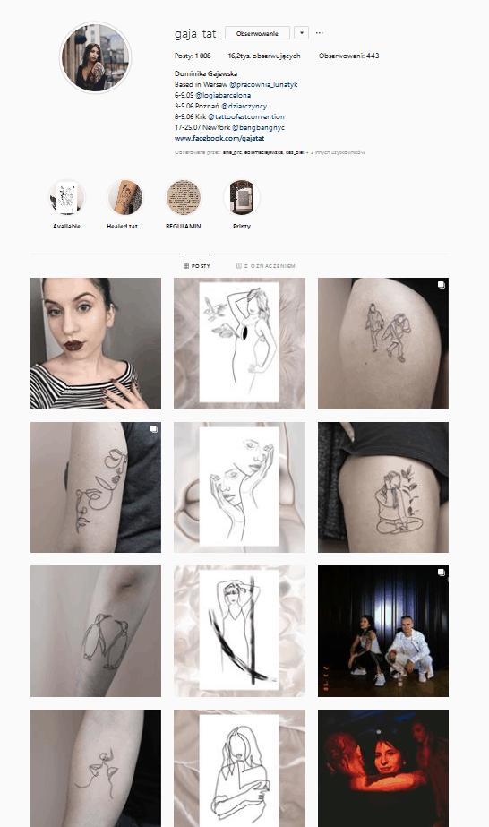 Instagram ułożony feed