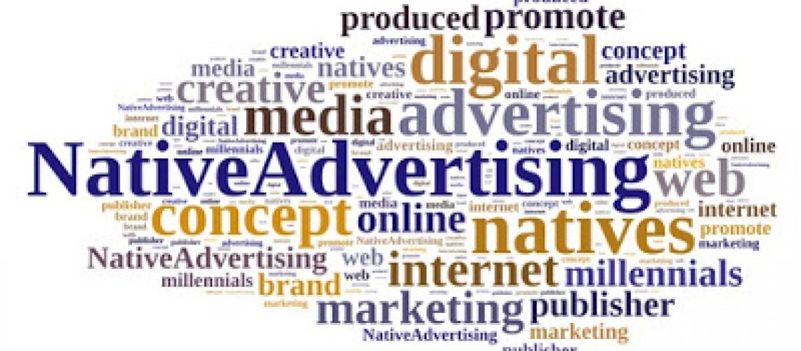 Illustration with word cloud on native advertising